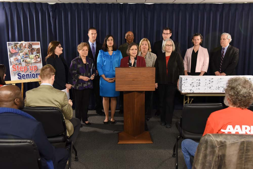 March 8, 2017 – Seawright with her Assembly colleagues at a press conference on March 8, 2017 opposing the proposed shift in Title XX funding in the Executive Budget.<br />