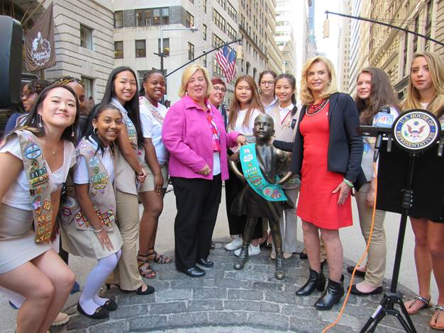 "Assembly Member Seawright, Congresswoman Carolyn Maloney and the Girl Scouts of Greater New York stand with the Fearless Girl.<br /><br />On Wednesday, August 9, Assembly Member Seawright spoke at a Rep. Maloney's press conference with the Girl Scouts of Greater New York near the Fearless Girl statue as they announced support for Maloney's legislation, H.R. 19, the Smithsonian Women's History Museum Act, for the establishment of a museum to recognize honorable women on the National Mall in Washington DC.<br /><br /><strong>Seawright said</strong>, ""I commend Congresswoman Carolyn Maloney for her unwavering support of this much-needed museum to celebrate the challenges that were conquered by women first. Her legislation has extraordinary support in Congress with 246 bipartisan cosponsors. There are 163.2 million females in the United States; we need to have a museum that fairly reflects our composition and our accomplishments throughout history!"" As a former girl scout, Seawright was proud to stand with Congresswoman Maloney, Girl Scouts CEO Meridith Maskara and young leaders of the Girl Scouts of Greater New York to send a message that now is the time to support women in leadership and recognize the women who have come before us and paved the way for developments in all fields for generations of girls and women to come."