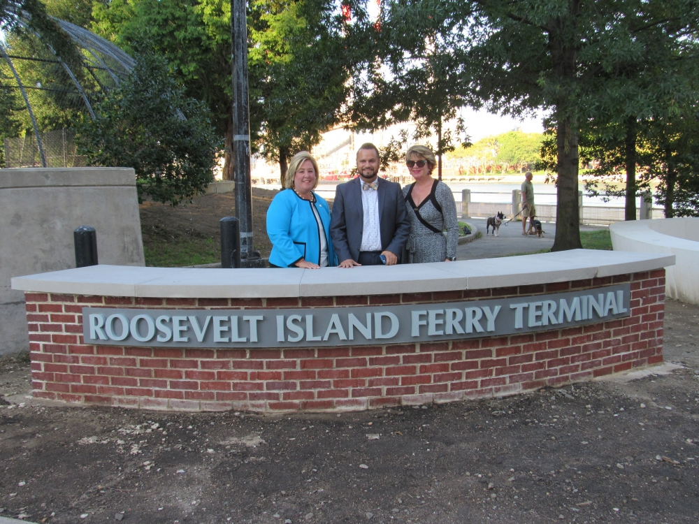 On Wednesday, August 23, Assembly Member Seawright along with Roosevelt Island Operating Corporation, State Senator Jose Serrano, Deputy Manhattan Borough President Matthew Washington, and Council Member Ben Kallos introduced Roosevelt Island community members to the New York City Ferry.  Roosevelt Island will serve as one of the new ferry landings on the Astoria route, launching next week on Tuesday, August 29. Contact our office for reduced fare applications.  RIOC President and CEO Susan Rosenthal, Senator Jose Serrano and Assembly Member Rebecca A. Seawright at the New York City Ferry Terminal, Roosevelt Island landing.<br />