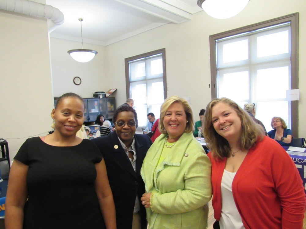 Job Seeker Demi West, NYPL Department Head-Career Coach Robyn Saunders, Seawright and Webster Library Manager Alexandria Abenshon.  <br />