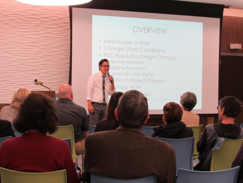"DDC's Christopher Esposito-Bernard explained the changes and presented the look-ahead for construction before a group of community members at the Chapin School.  Construction work remaining for the project includes installation of the bridge's viewing window and fabricating and installing stainless steel fencing. <a href=""https://www.dropbox.com/s/armha9us91u9jrd/E.%2081st%20St.%20Pedestrian%20Bridge%20Project%20Update%20for%20CB8%20-%2010.4.17.pptx?dl=0"" target=""_blank""> Please view the complete presentation here</a>."