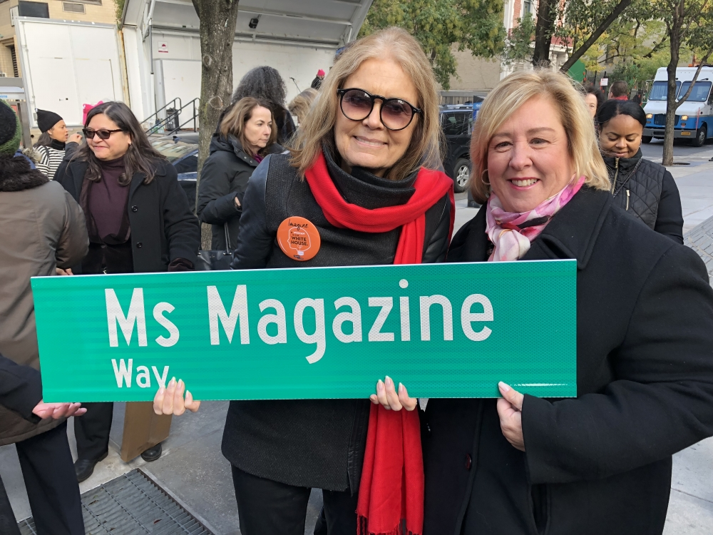 """In honor of Gloria Steinem and her founding of Miss Magazine in 1972 and on the occasion of this year marking the 45th anniversary of a publication by women for women, I join my colleagues and advocates in co-naming the corner of East 32nd Street and Third Avenue after this revolutionary publication. I understand the importance of promoting women in literature to ensure that our narratives on critical social issues such as abortion, sexuality and sexual harassment are heard. I look forward to continuing to read Ms. Magazine as we continue to fight all forms of discrimination as feminists and as civil rights leaders to ensure that the works of women, especially in media, are equally represented,"" said Assembly Member Rebecca Seawright.<br />"
