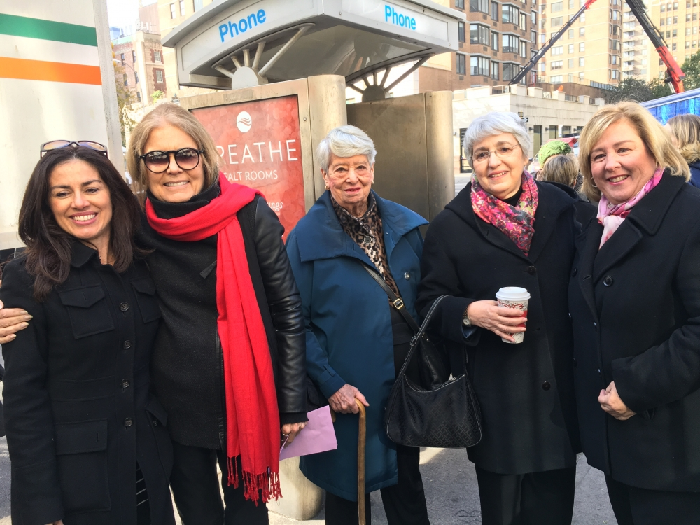 NOW President Sonia Ossorio, Ms. Magazine Founder Gloria Steinem, Feminist Press President Helene Goldfarb, President of the Feminist Majority Foundation Eleanor Smeal and Seawright at the co-naming ceremony. <br />