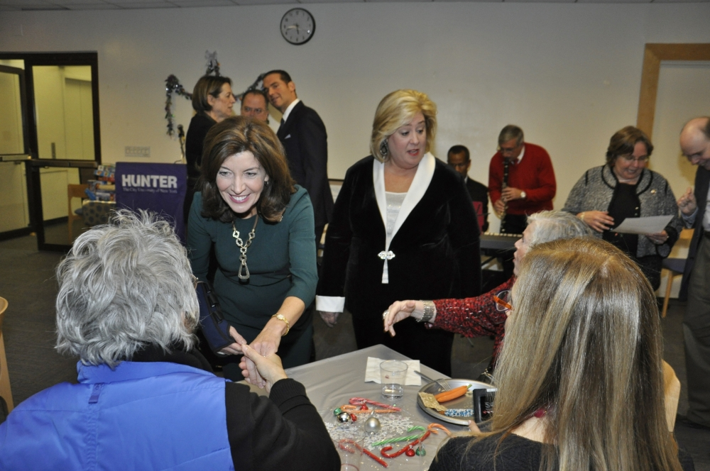 Hochul and Seawright greet constituents.<br />