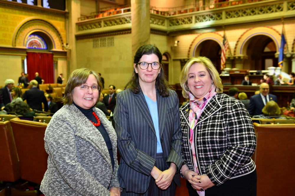Chief of Staff Audrey Tannen, Legislative Director Maryann White and Assembly Member Seawright in Chambers on opening day. <br />