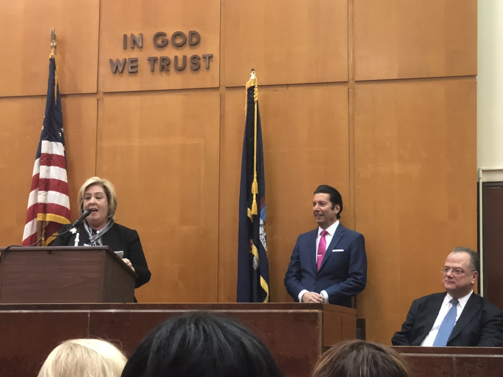 Assembly Member Rebecca Seawright gives remarks during the Induction of Judge James G. Clynes.<br />