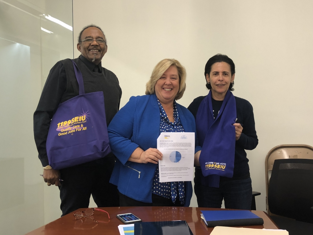Meeting with Cletus Gay and Ivanei Nascimento, organizers with 1199SEIU United Healthcare Workers East. <br />