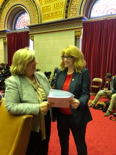 "Seawright discussing <a href=""/leg/?bn=A6732&term=2017"" target=""blank"">A6732</a> with colleague, Assembly Member Linda Rosenthal.  <br />"