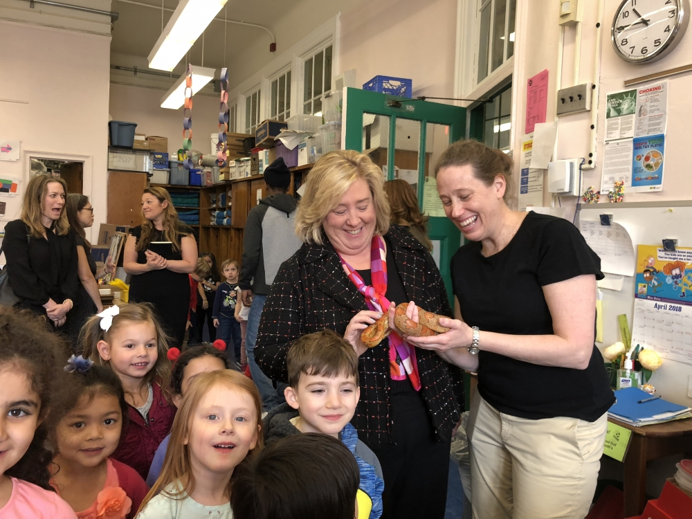 After discussing school needs, Rebecca visited PS 183's Art Room, which Rebecca secured State funding to renovate. Here she's pictured meeting Maisy the snake!<br />