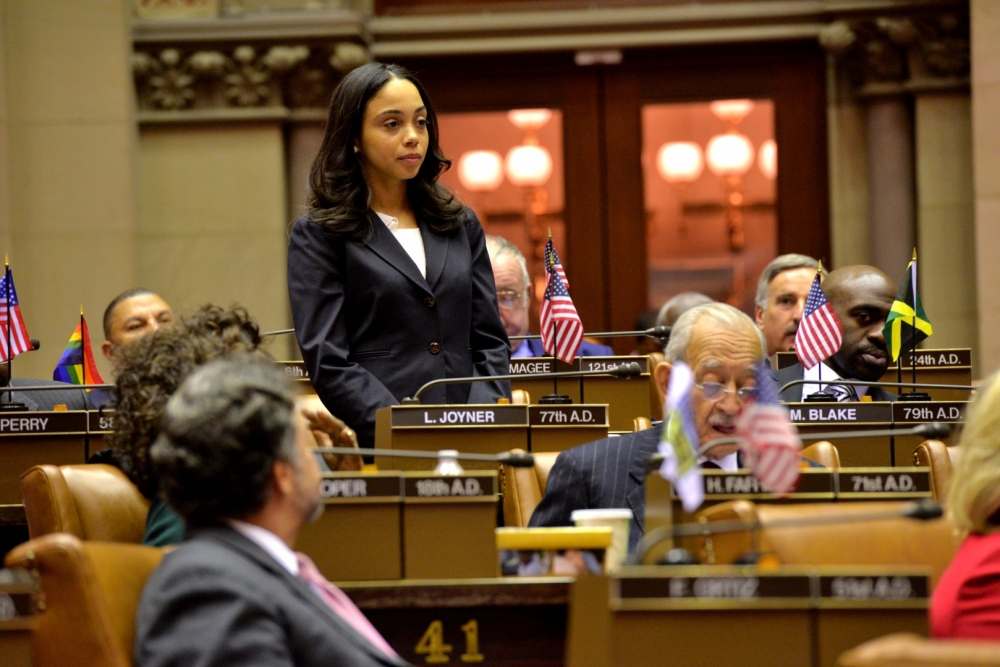 Assemblywoman Latoya Joyner stands on the Assembly Floor in the State Capitol.