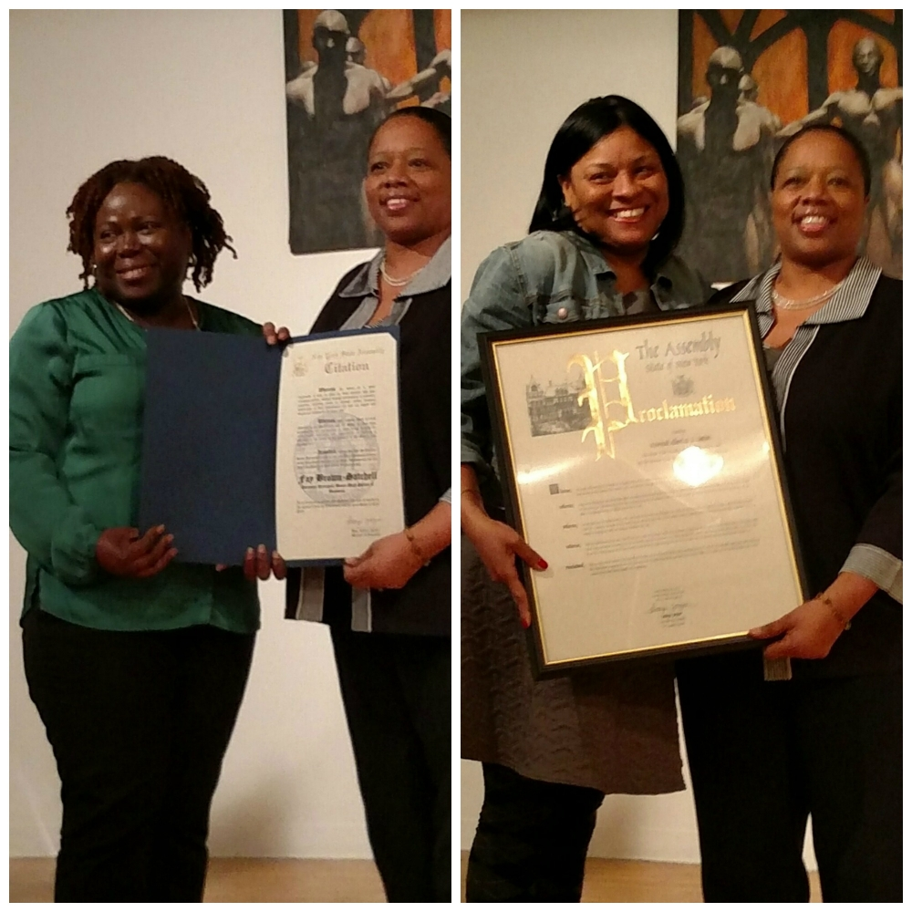 For Black History Month 2015, Assemblywoman Latoya Joyner honored local education leaders, including Fay Brown-Satchell (L), Assistant Principal from the Bronx High School of Business, and Rev. Albert