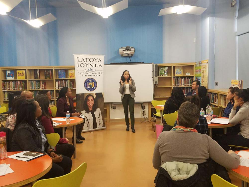 Assemblywoman Latoya Joyner hosted a breakfast with District 9 principals, the New York City Department of Education, and the NYC Department of Homeless Services to hear feedback regarding how new pro