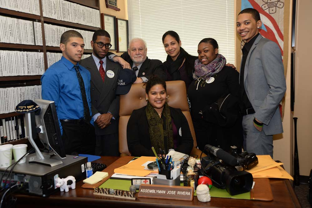 Mr. Rivera with the students who he supports from his district who attend Lehman College.