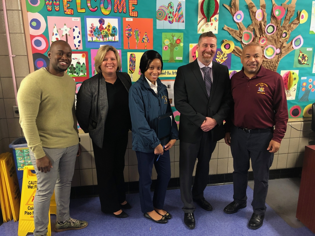Speaker Heastie tours P.S.121 with Principal Jared Kreiner and NYC District 11 Community Superintendent Cristine Vaughan.