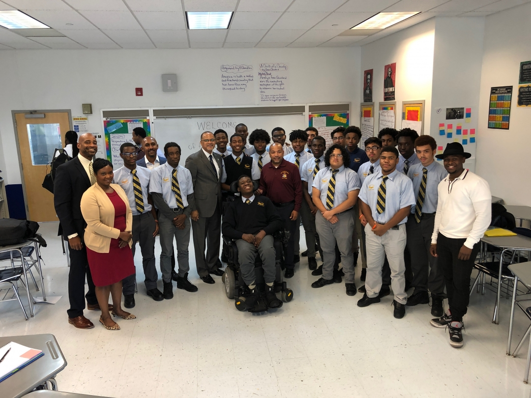 Speaker Heastie toured the Eagle Academy for Young Men campus located in the Bronx with Eagle Academy CEO David Banks and Patrick Jenkins, and spoke to school leadership and students about the impact