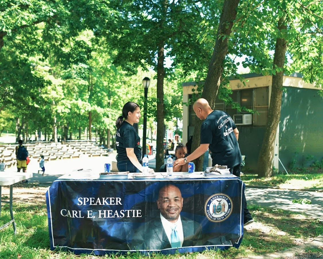 Speaker Heastie setting up for our 1st Annual Music Over Violence event in Haffen Park.