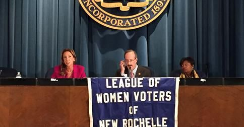 Amy Paulin with Eliot Engel and Andrea Stewart-Cousins at the New Rochelle League of Women Voters forum.