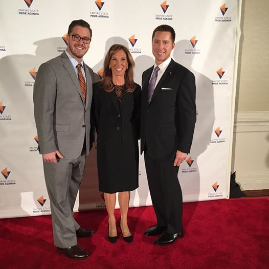 Amy Paulin at the Empire Pride dinner with Executive Director, Nathan Schaefer and Board President, Norman Simon.