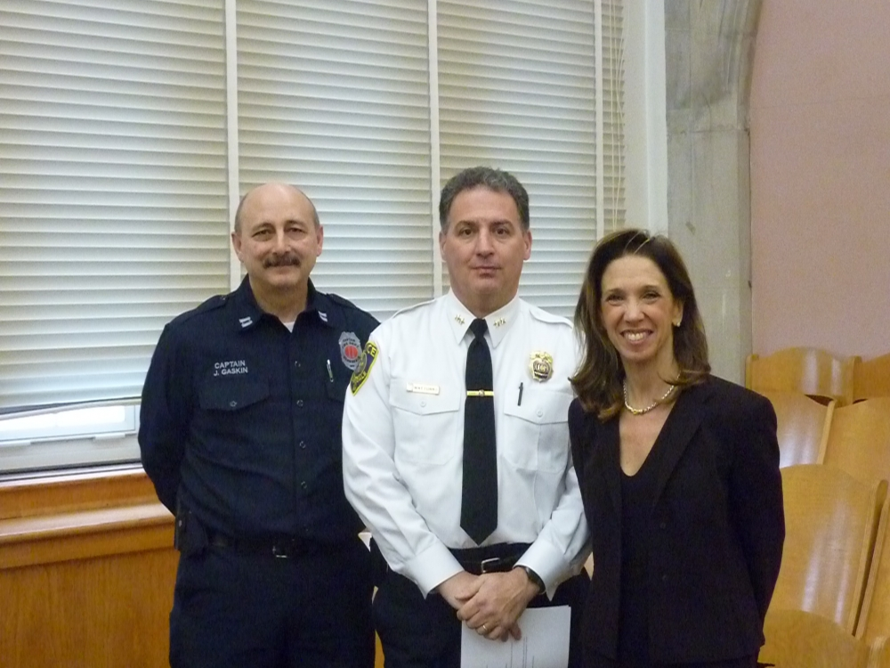 Amy Paulin with Scarsdale Police Captain Andrew Matturro and Scarsdale Fire Captain Jeff Gaskin. The trio spoke at Scarsdale High School on Feb. 6 about the dangers of texting and driving.