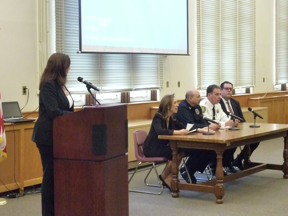 Amy Paulin on the panel answering questions from Scarsdale High students about the dangers of texting and driving.
