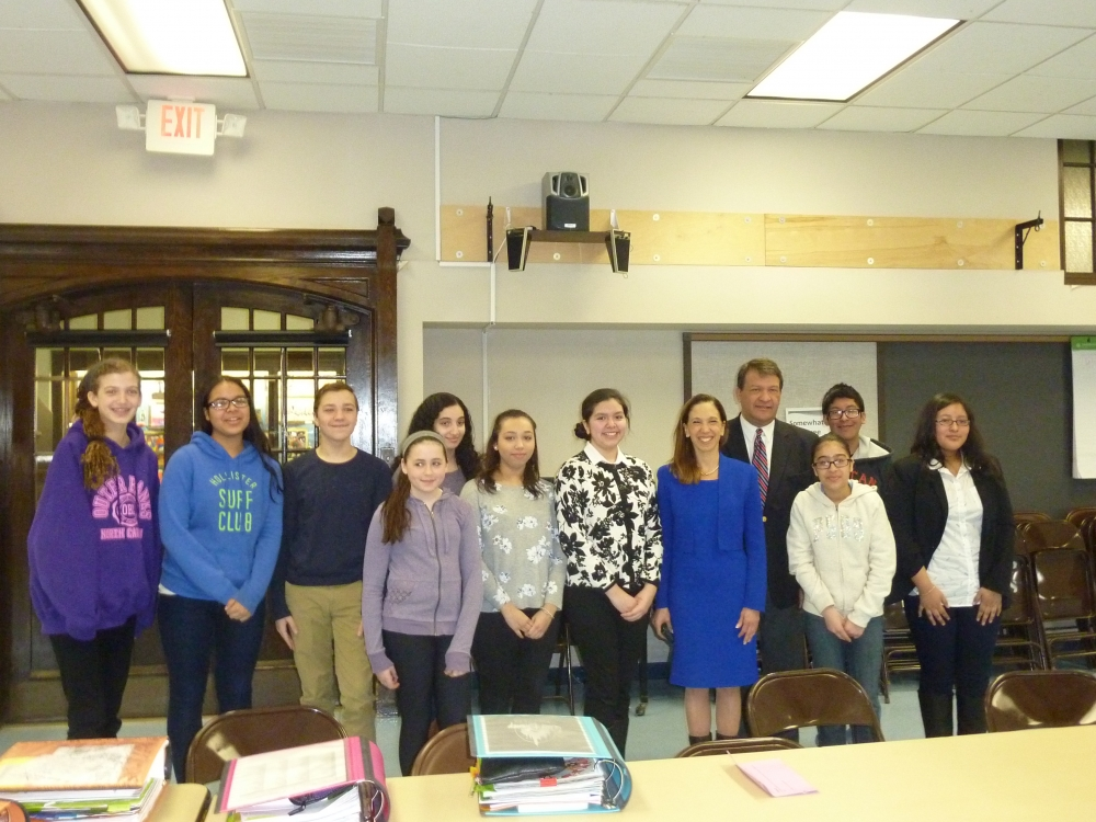 Amy Paulin recently visited the White Plains Middle School along with State Senator George Latimer to discuss state testing, teacher assessments and just to see how the kids are doing, what they are l