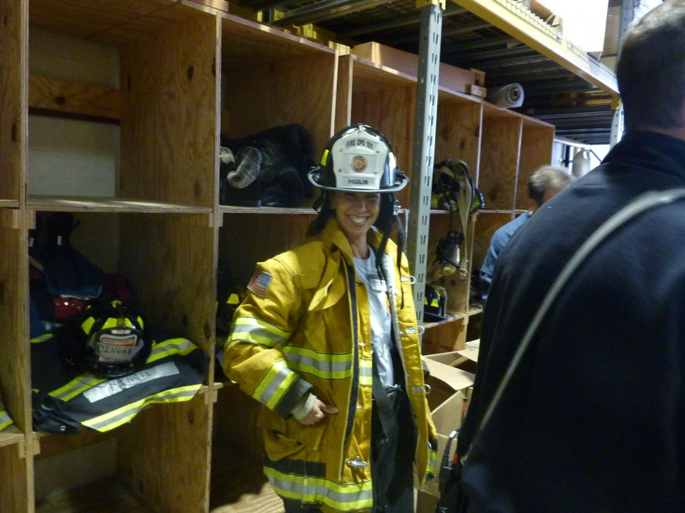 Assemblywoman Amy Paulin had the opportunity to spend time recently at the Westchester County Fire Training Center in Valhalla, taking part in a Fire Ops 101. Here she is gearing up.