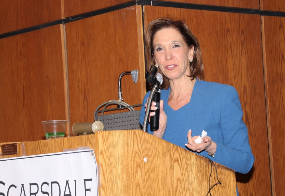 Assemblywoman Amy Paulin spoke about the legislation she has introduced for the current session at the Scarsdale Forum on Feb. 11.