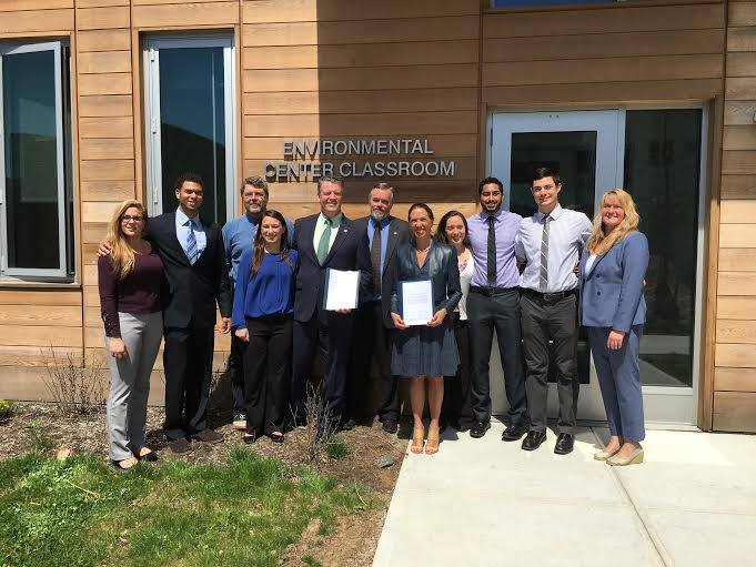 Assemblywoman Amy Paulin was at Pace University in Pleasantville on April 18 to discuss a bill with students and faculty from the school's Environmental Policy Clinic. The students approached her abou