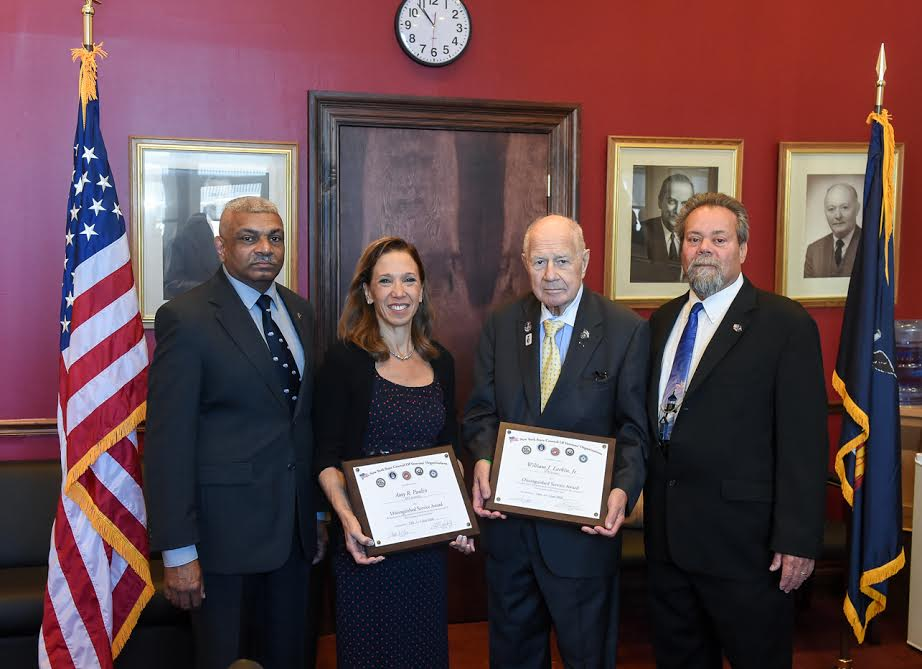 Assemblywoman Amy Paulin was presented with awards from the NYS Veterans Council and the PEF Veteran�s Council for my work on the veteran�s pension bill.