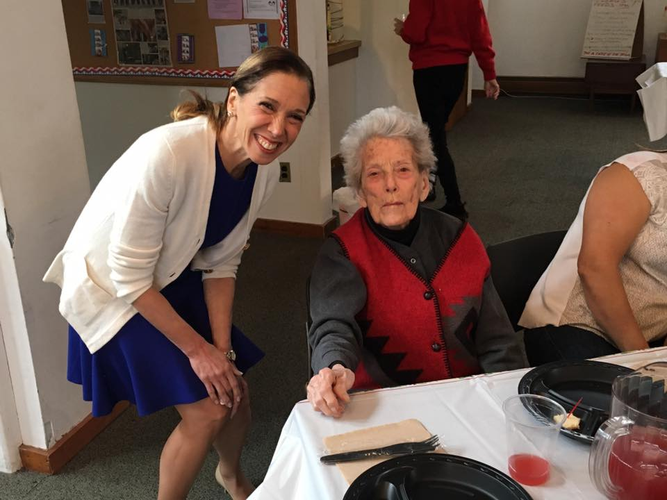 Assemblywoman Amy Paulin visited with old friend Jane Bedichek while giving out holiday cookies to the Scarsdale Seniors.