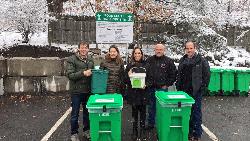 Assemblywoman Amy Paulin at the Scarsdale recycling yard for a discussion about and introduction to the Village's food scrap drop-off site.