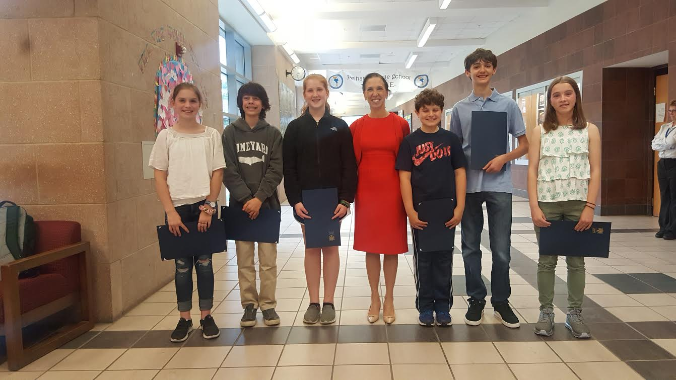 "Assemblywoman Amy Paulin recognized the Pelham Middle Schoolers who took top honors in her ""There Ought To Be A Law"" contest. With her from left to right are: Georgia Connelly, James Findiky"