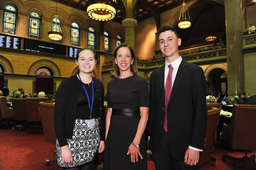 Scarsdale High juniors Katie Bowen and Daniel Karp recently joined Assemblywoman Amy Paulin in Albany and shadowed her as part of Students Inside Albany, a program sponsored by The League of Women Vot