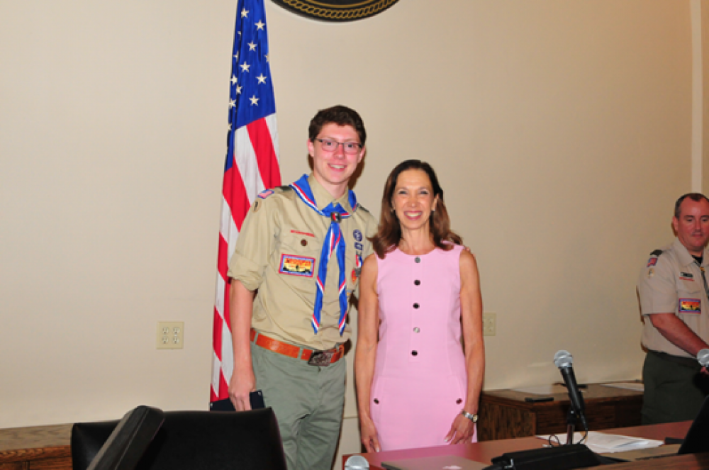 Assemblywoman Amy Paulin attended the Eagle Scout Court of Honor ceremony for Pelham's Matthew Spana and presented him with a New York State Assembly citation.