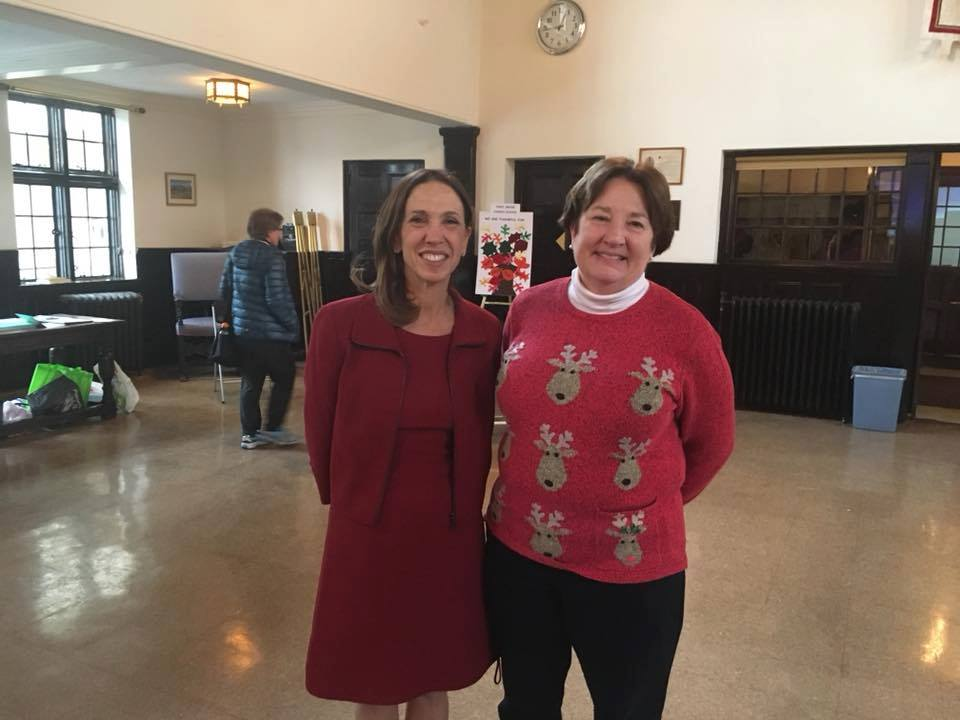 Assemblywoman Amy Paulin gave out holiday cookies at The Reformed Church of Bronxville.