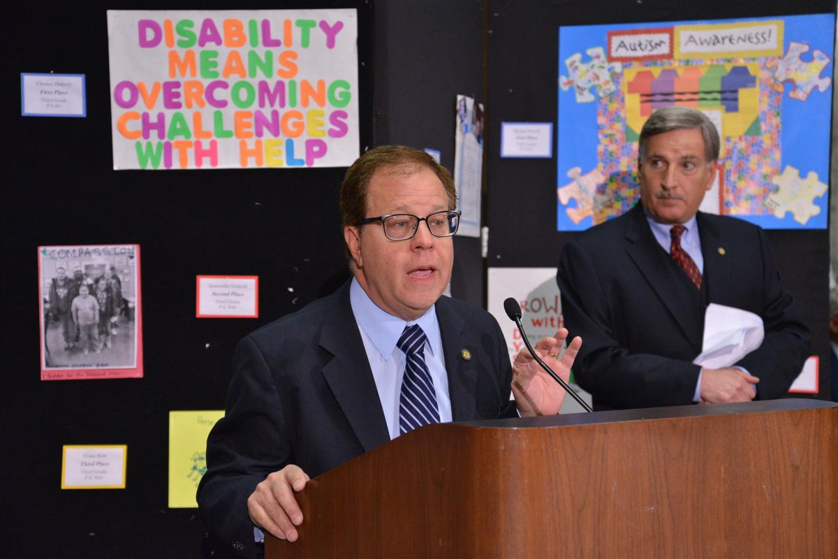 Assemblyman Abinanti speaking at the Legislative Disabilities Awareness Day about working together to help those with disabilities.