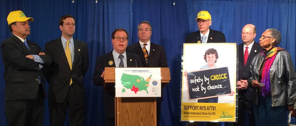 Assemblyman Abinanti, joined by legislators and allergy advocates, for a press conference in support of A. 7791.