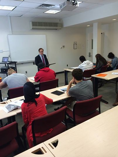 Pace Journalism Class: Assemblyman Abinanti spoke at a mock press conference for students in the News Reporting class at Pace University � Pleasantville.