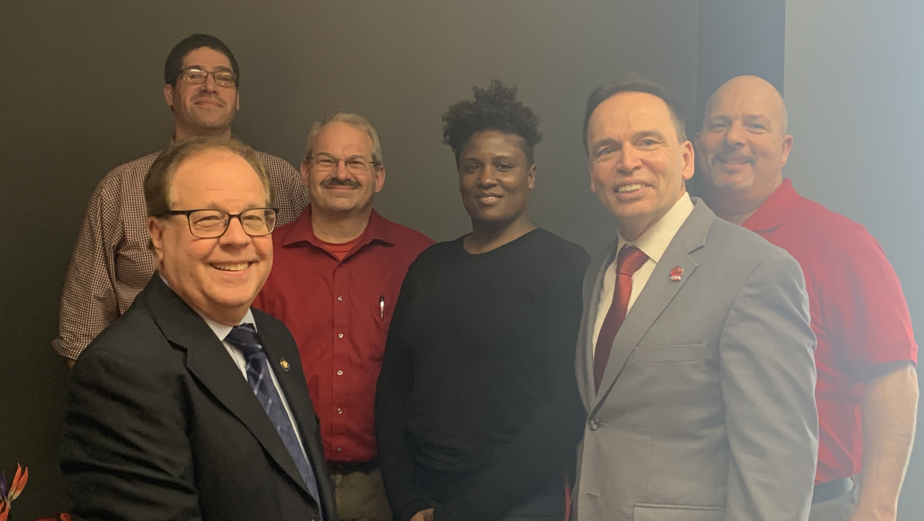 Tom Abinanti with Rob Pinto,  Dan Kozak, Natalia Campbell, John Caroppoli, and Joseph Mayhew from the Communications Workers of America.