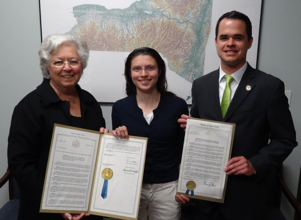 Sandy and Senator David Carlucci presented a joint resolution to Briarcliff High School student Caroline Pennacchio for becoming a Distinguished Finalist in the 19th Annual Prudential Spirit of Commun