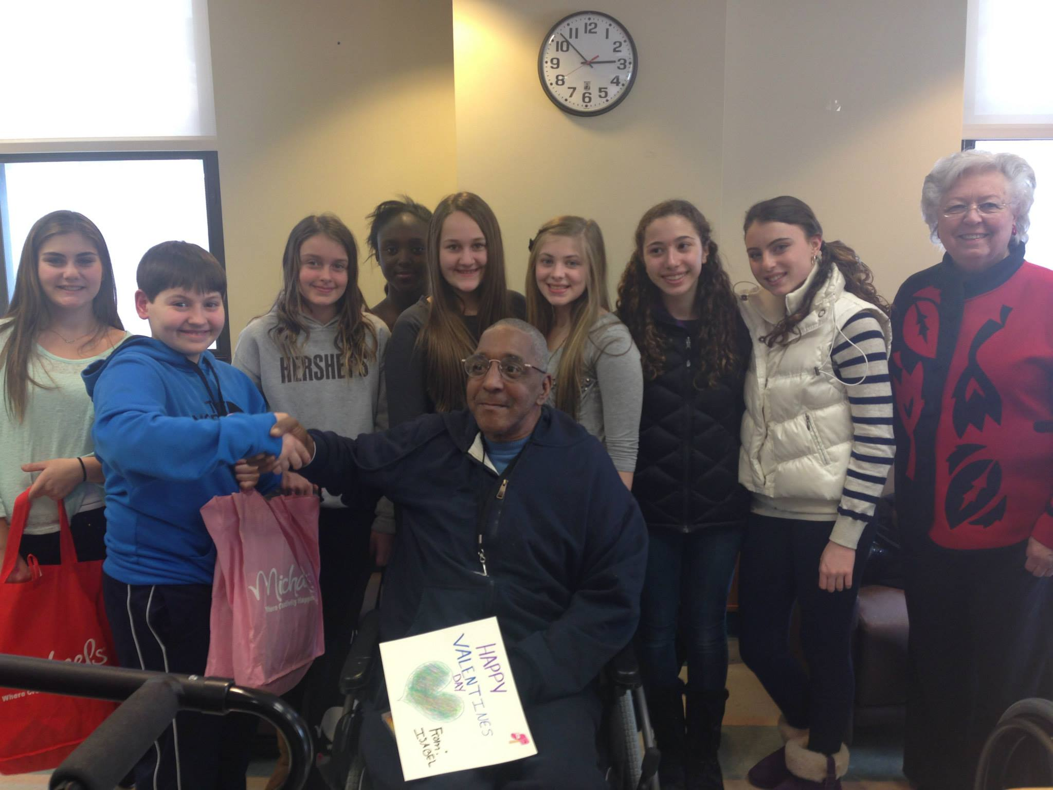 Sandy and middle school students from the Hendrick Hudson School District visited with veterans at the Veterans Affairs Medical Center in Montrose. They spoke with many veterans residing there and han