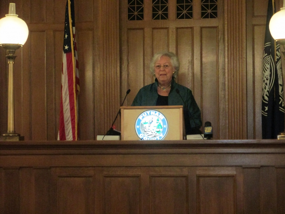 Sandy gives an address at the Putnam County Swearing-In Ceremony in January, 2015.