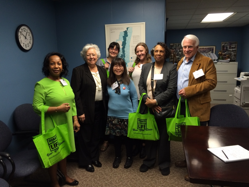 Advocates for organ donation from Donate Life came to visit Sandy in Albany in April, 2016.