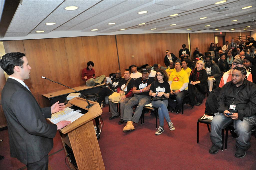 Assemblyman Zebrowski addressing advocates and members of VOCAL NY on Hepatitis C Legislative Awareness Day.