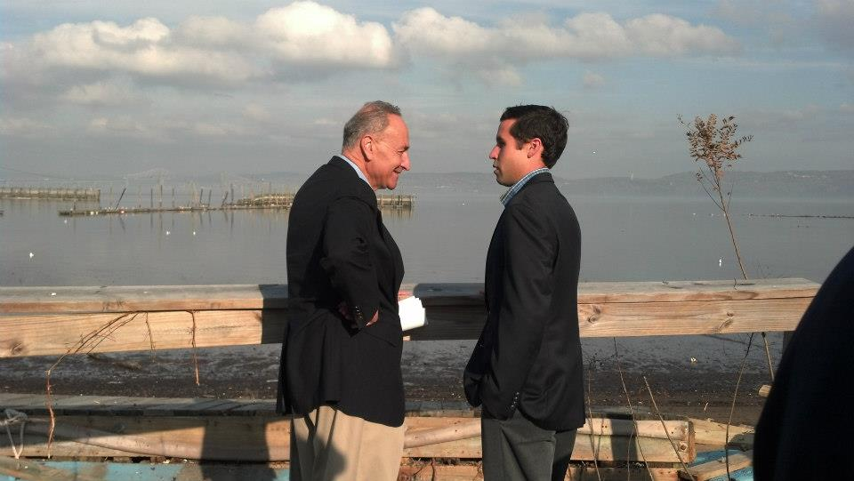 Assemblyman Zebrowski with Senator Schumer assessing Hurricane Sandy damage in Piermont, NY.