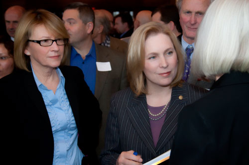 Aileen with Senator Gillibrand at the Museum at Bethel Woods to discuss agriculture and economic development.