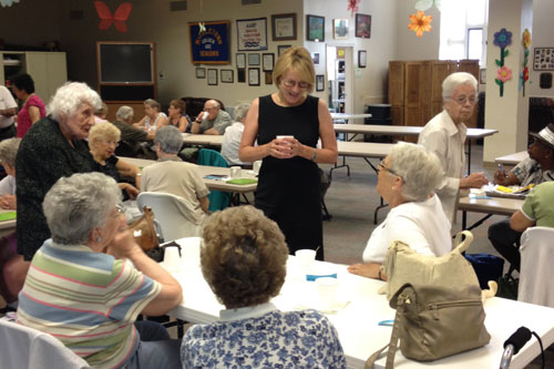 Aileen speaking with seniors at the Middletown Senior Center as part of her �Senior Tour�.