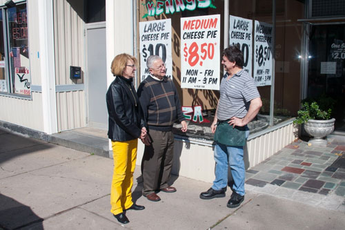 Aileen speaks with a local business owner in Port Jervis.