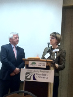 Assemblymember Cahill addresses the Ulster County Chamber of Commerce alongside Senator Cecilia Tkaczyk.