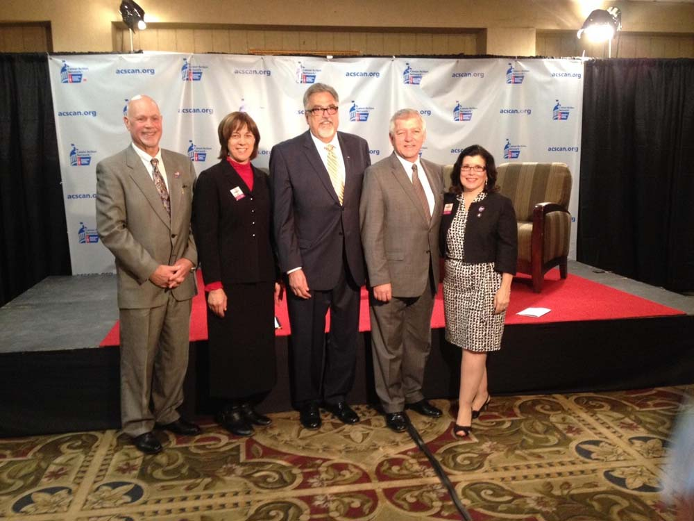 Assemblymember Cahill stands alongside attendees of the American Cancer Society�s Live Legislative Breakfast Talk Show.